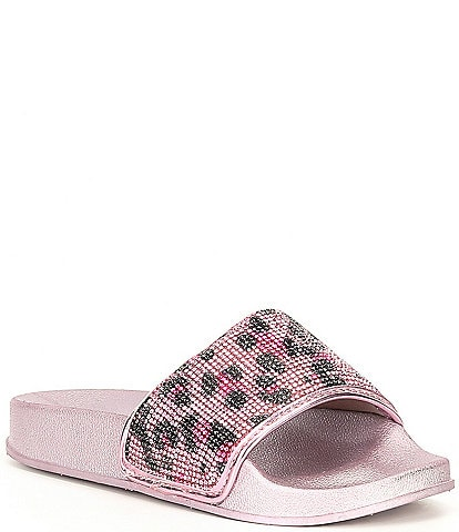 Steve Madden Girls' J-Sammyy Leopard Embellished Slippers (Youth)