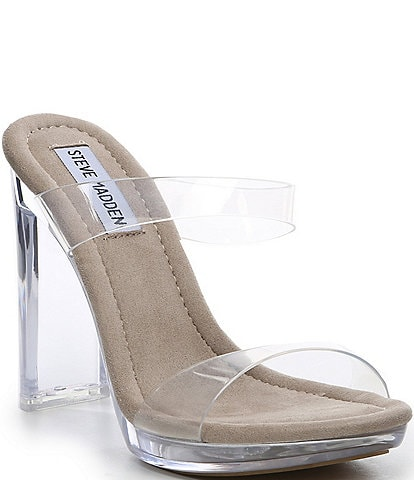 fd2b38fe8020 Steve Madden Glassy Clear Block Heel Dress Sandals