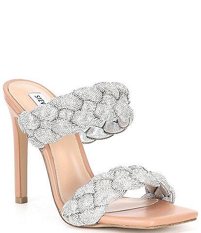Steve Madden Kenley-R Rhinestone Embellished Braided Square Toe Stiletto Dress Mules