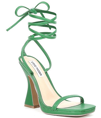 Steve Madden Lafayette Ankle Wrap Square Toe Sculptural Heel Dress Sandals