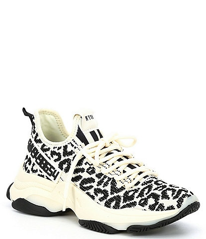 Steve Madden Maxima Leopard Print Chunky Sole Knit Sneakers