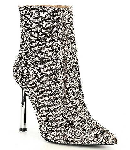 Steve Madden Robyn-R Rhinestone Embellished Snake Print Booties
