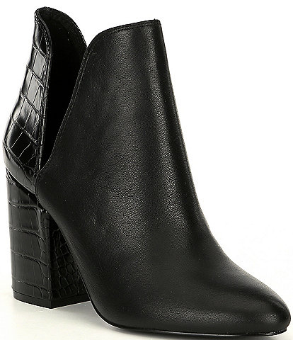 Steve Madden Rookie Leather Croco Embossed Detail Block Heel Booties