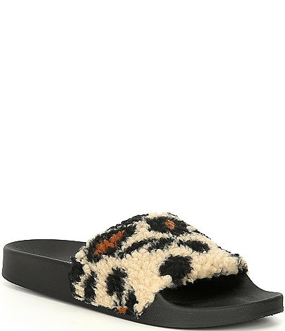 Steve Madden Shear Faux Fur Leopard Print Slip-On Slippers