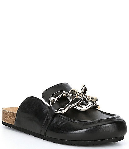 Steve Madden Study Leather Chain Link Detail Slip-On Clogs