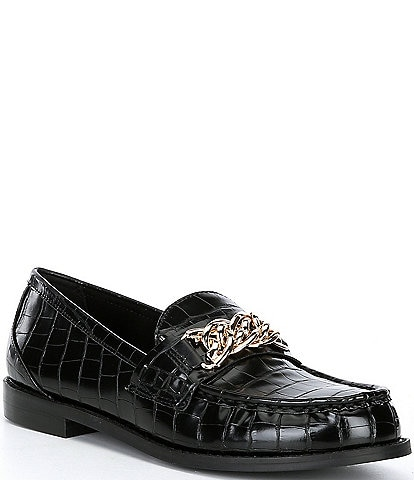 Steve Madden Triple Croc-Embossed Chain Link Detail Loafers
