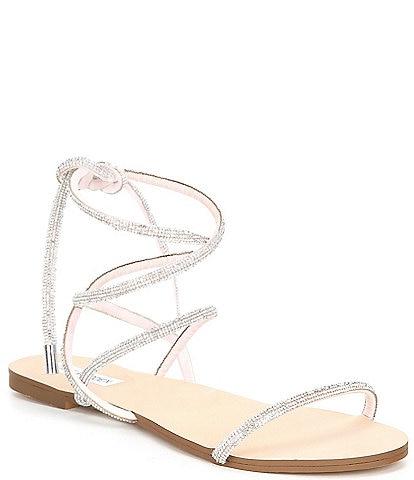 Steve Madden Twirl-R Rhinestone Embellished Ankle Wrap Sandals