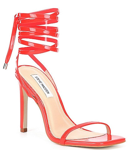 Steve Madden Lace Up Ankle Wrap Uplift Square Toe Patent Dress Sandals