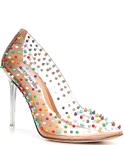Steve Madden Vala Clear Multi Studded Stiletto Pumps