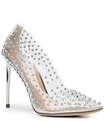 Steve Madden Vala Clear Studded Metallic Stiletto Heel Pumps