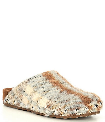 Steve Madden Vessel-S Plaid Studded Detail Slippers