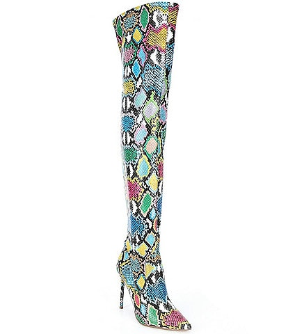 Steve Madden Viktory Multi Snake Print Over-the-Knee Boots