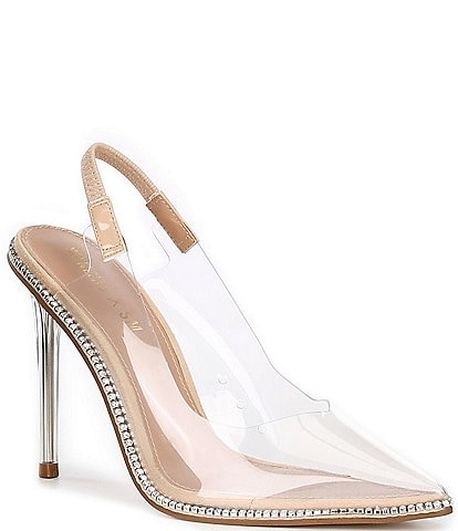 Steve Madden x Winnie Harlow Savlamar Clear Rhinestone Stiletto Pumps