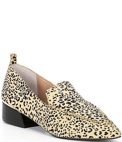 Steve Madden Zelma-L Leopard Print Haircalf Block Heel Loafers