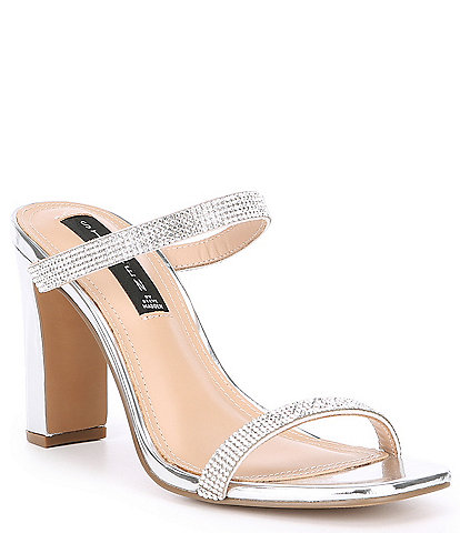 Steven by Steve Madden Jersey Rhinestone Embellished Block Heel Dress Sandals