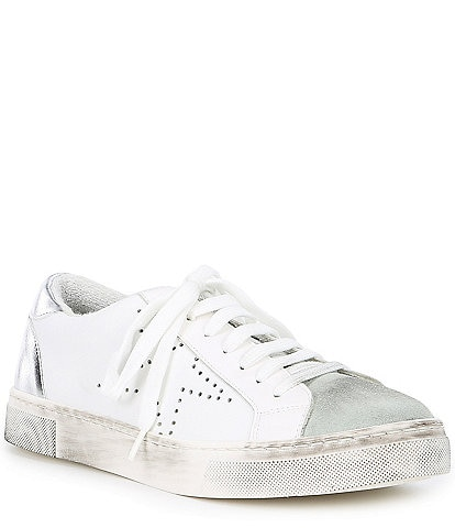 Steven by Steve Madden Rezza Leather and Suede Star Lace Up Sneakers