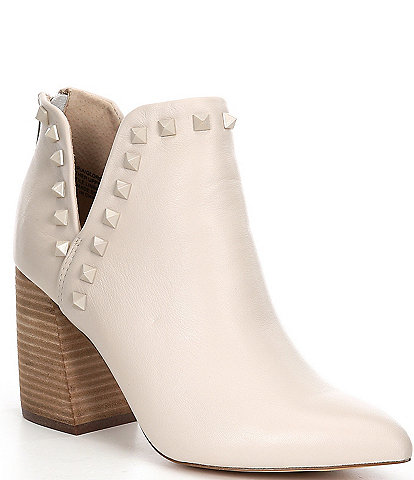 Steven Madden Gloria Studded Embellished Leather Block Heel Booties