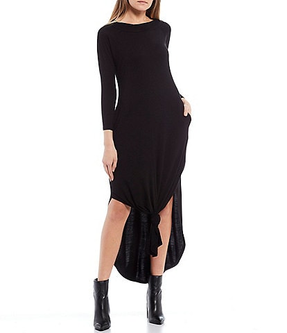 Stilletto's Long Sleeve Side Slit Maxi Dress