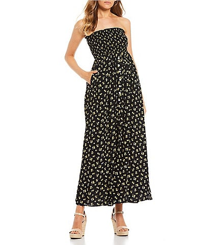Stilletto's Floral Strapless Smocked Button Front Maxi Dress