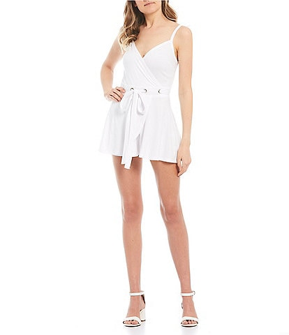 Stilletto's Grommet Faux Wrap Romper