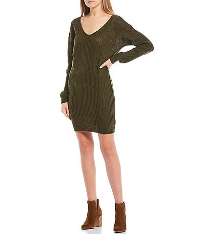 Stilletto's Lattuice Back Cable Knit Sweater Dress
