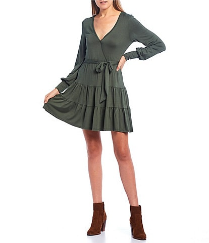 Stilletto's Long Sleeve Tiered Wrap Dress