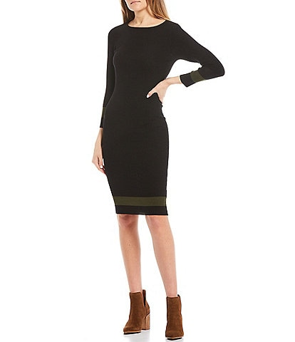 Stilletto's Mock Neck Rib Knit Sweater Dress