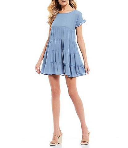 Stilletto's Ruffle Short Sleeve Tiered Babydoll Dress