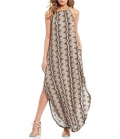 Stilletto's Snake High Neck Maxi Dress