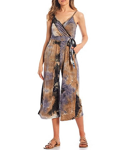 Stilletto's Tie-Dye Faux Wrap Culotte Jumpsuit