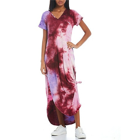 Stilletto's Tie Dye V-Neck T-Shirt Maxi Dress