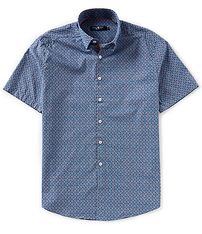 Stone Rose Circle Geo Print Short-Sleeve Woven Shirt
