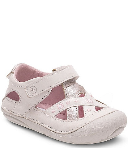 Stride Rite Girls' Kiki Leather Criss Cross Banded Hook and Loop Casual Shoes