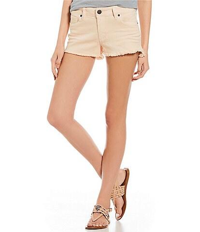STS Blue Frayed-Hem Boyfriend Hi-Low Shorts
