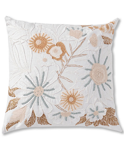 Studio D Floral Embroidered Applique Square Pillow