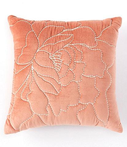 Studio D Oversized Floral Embroidered Velvet Square Pillow