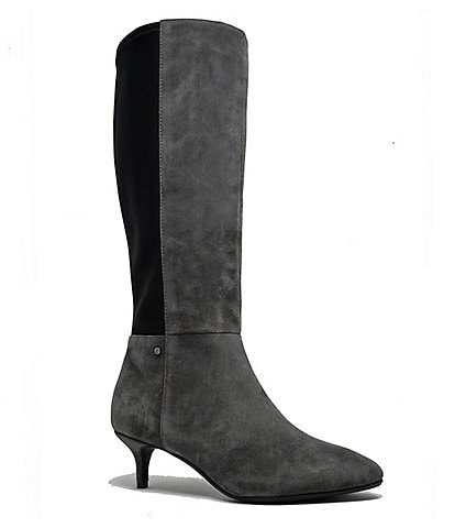 Sudini Beverly Suede Kitten Heel Tall Boots