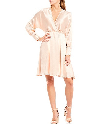 Sugarlips Angel Eyes Satin V-Neck Long Sleeve Mini Dress