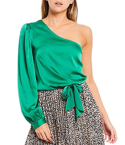 Sugarlips Avalon One Shoulder Long Sleeve Satin Top