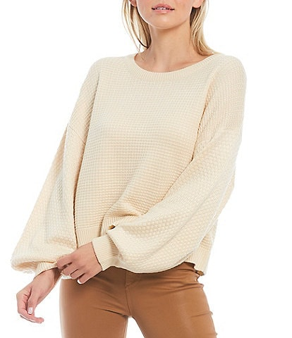 Sugarlips Long Balloon Sleeve Crew Neck Cropped Statement Sweater