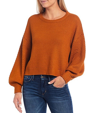 Sugarlips Balloon Sleeve Crew Neck Cropped Sweater