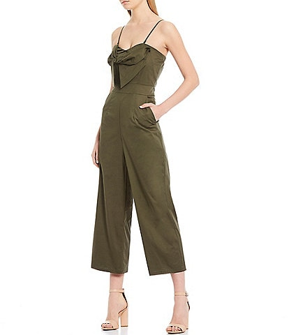 Sugarlips Bow Front Strapless Twill Cotton Crop Jumpsuit