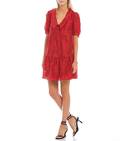 Sugarlips Burnout Short Puff Sleeve Collared V-Neck Tiered Babydoll Dress