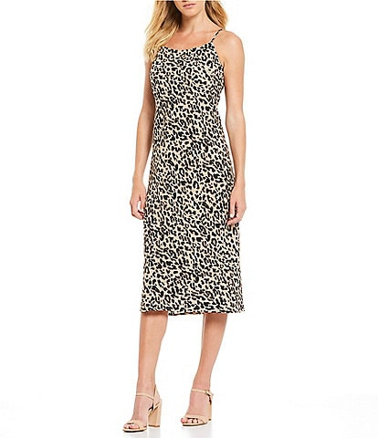 Sugarlips Cale Leopard Print Midi Slip Dress