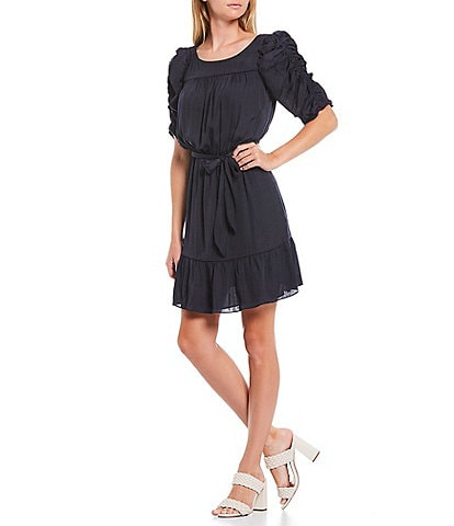 Sugarlips Coleen Ruched Elbow Sleeve Tie Waist Satin Dress
