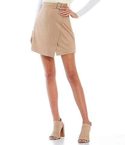 Sugarlips Faux Suede Side Buckle High Waisted Mini Skirt