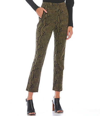 Sugarlips Faux Suede Snakeskin Print High Waisted Straight Leg Pants