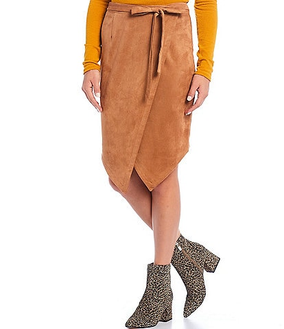 Sugarlips Faux Suede Wrap Style Asymmetric Skirt