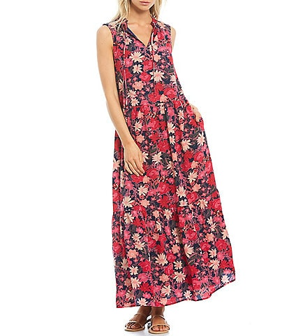 Sugarlips Floral A-Line Tiered Maxi Dress