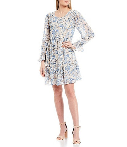 Sugarlips Floral Babydoll Long Sleeve Dress